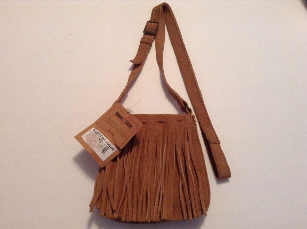 "NWT ""MINNETONKA"" Tan SUEDE leather Purse Handbag Messenger Crossbody bag Fringe  | eBay"