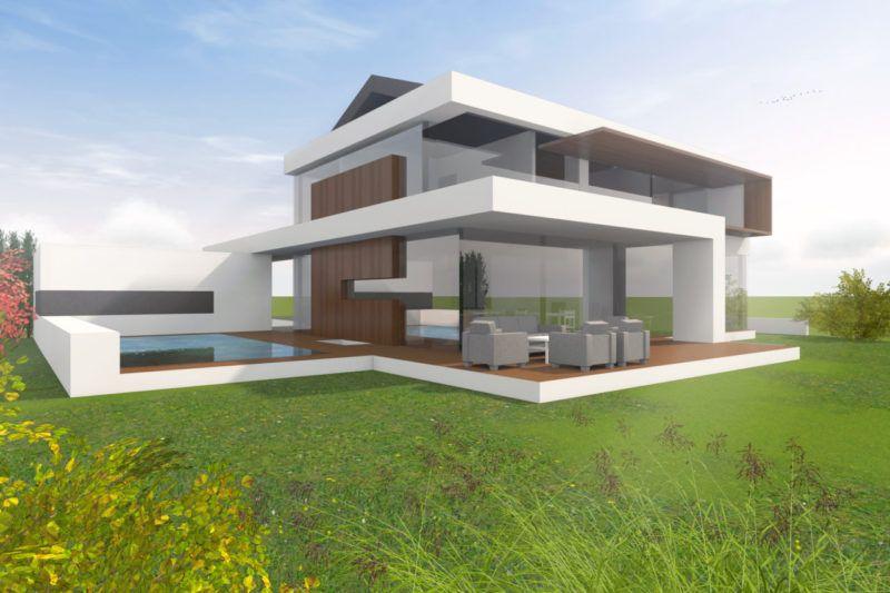 Ein Architektenhaus Mit Satteldach In Moderner Architektur Intepretiert.  Zum Festpreis Bauen Mit Flow.studio   Hanghaus Satteldach Modern.