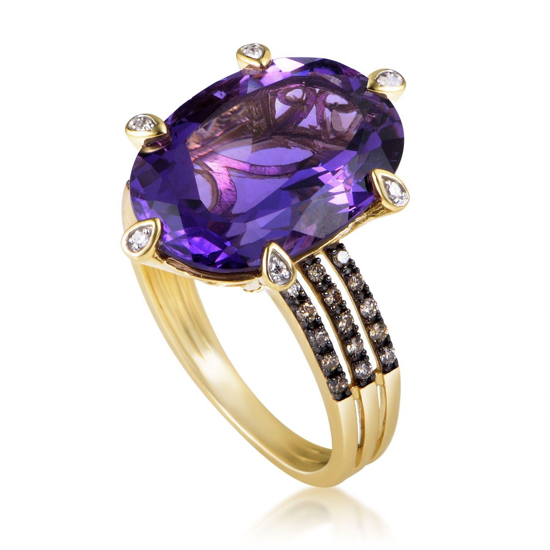 14K Yellow Gold Diamond And Amethyst Ring