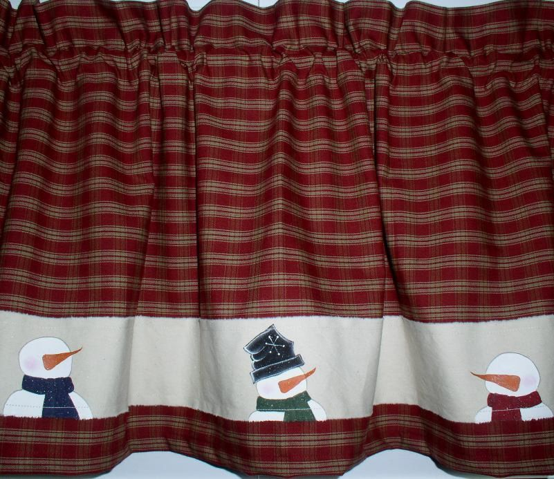 Snowman Valance Hand Painted Homespun Primitive Country Curtain by ...