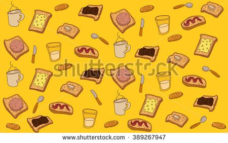 recurring items of food, beverages and cutlery - stock vector