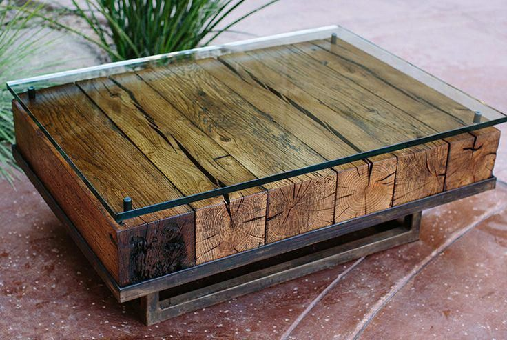 Couchtisch Hutch River Bend Table Cherry Wood, Hemlock, River Stones, Epoxy