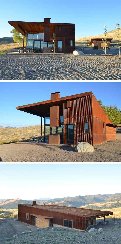 Moderne und einzigartige Häuser mit außen in Stahl