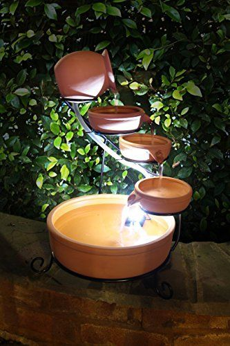 Small Solar Powered Water Feature Terracotta Jug And