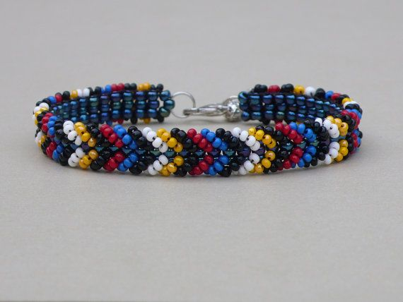 Beadweaving Seed Bead Bracelet Native American Handmade Beadwork Colored