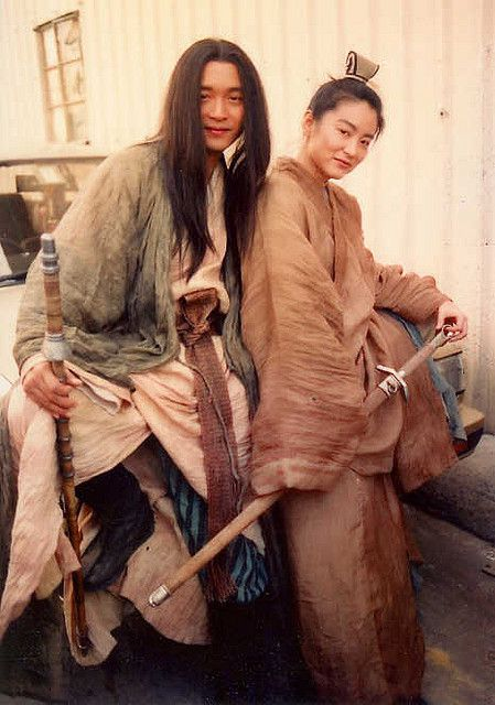 Brigitte Lin & Leslie Cheung in the movie 'The Bride with White Hair'. Brigitte is dressed in ancient male attire.