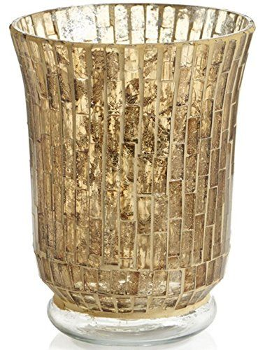 Gold Glass Mosaic Decorative Hurricane Vase Or Candle Hol Https