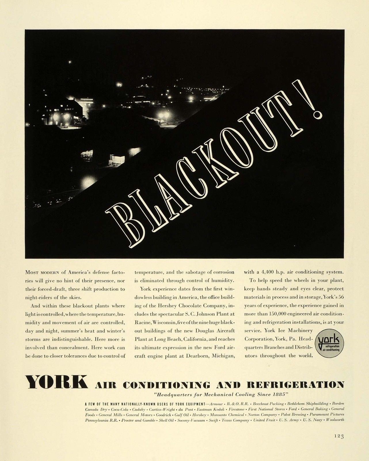 1941 Ad York Air Conditioning Refrigeration WWII War
