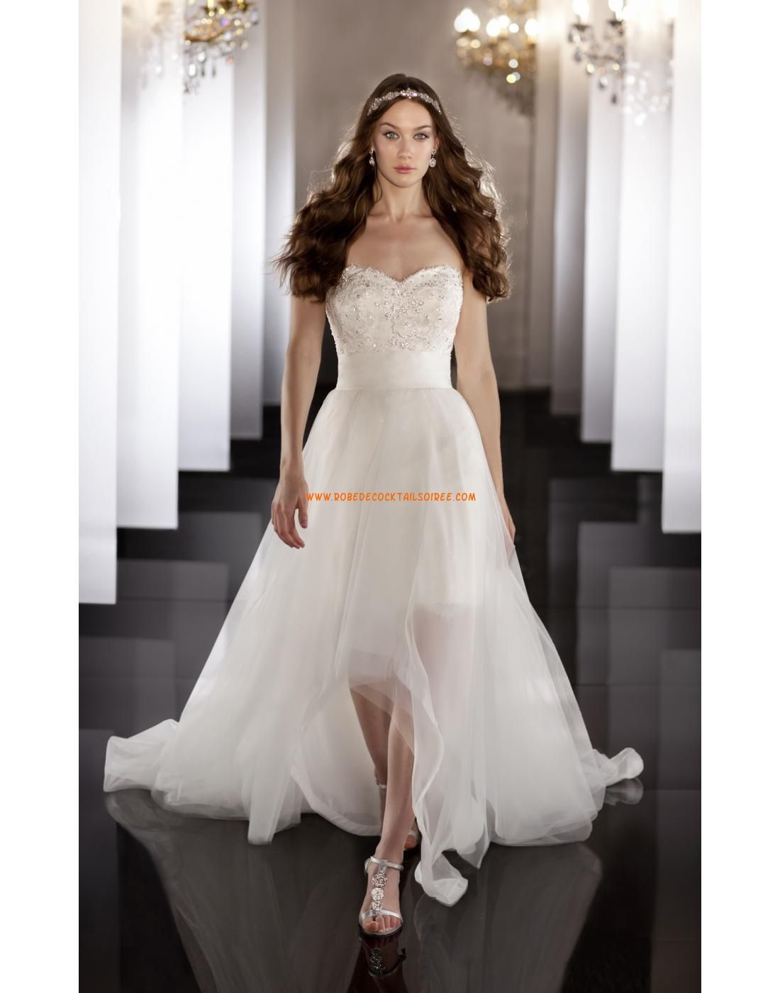 Cheap high low wedding dresses  Robe de marie courte avec traine organza amovible  Lace Wedding