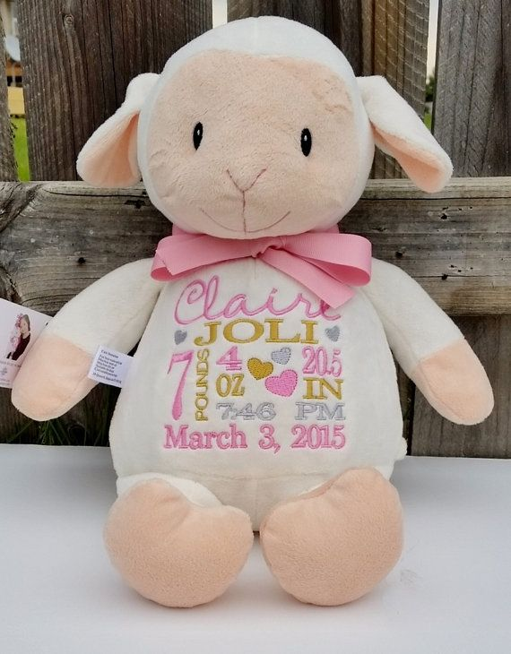 Personalized baby gift personalized stuffed animal monogrammed personalized baby gift personalized stuffed animal monogrammed lamb embroidered birth announcement by sewbiz embroidery too negle Images