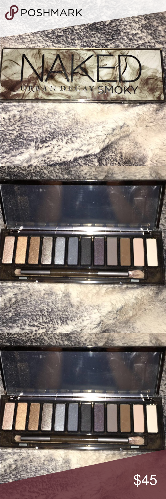 Urban Decay Smoky shadow palette Brand new, protective film is still on mirror. Original brush included. I have used one shade very lightly but you can't even tell. Perfect condition, beautiful shades! Offers accepted, please just use the offer botton! 😊 Urban Decay Makeup Eyeshadow