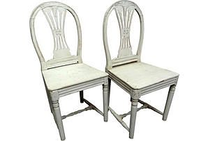 Gustavian-Style Wood Chairs, Pair