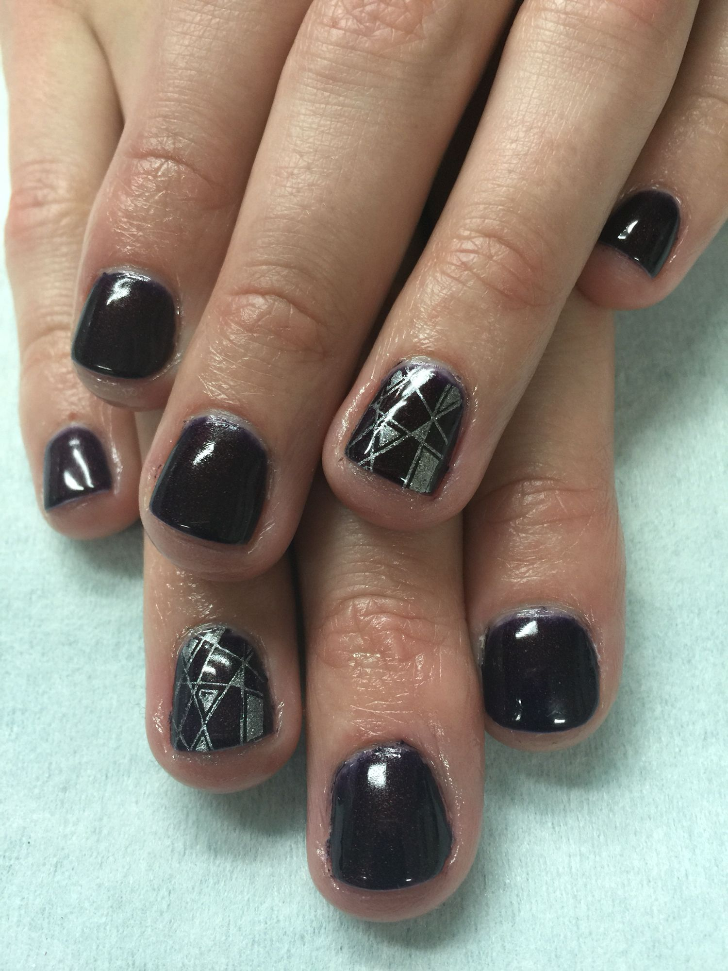 Dark Purple gel polish nails with silver stamped accents. | Gel Nail ...