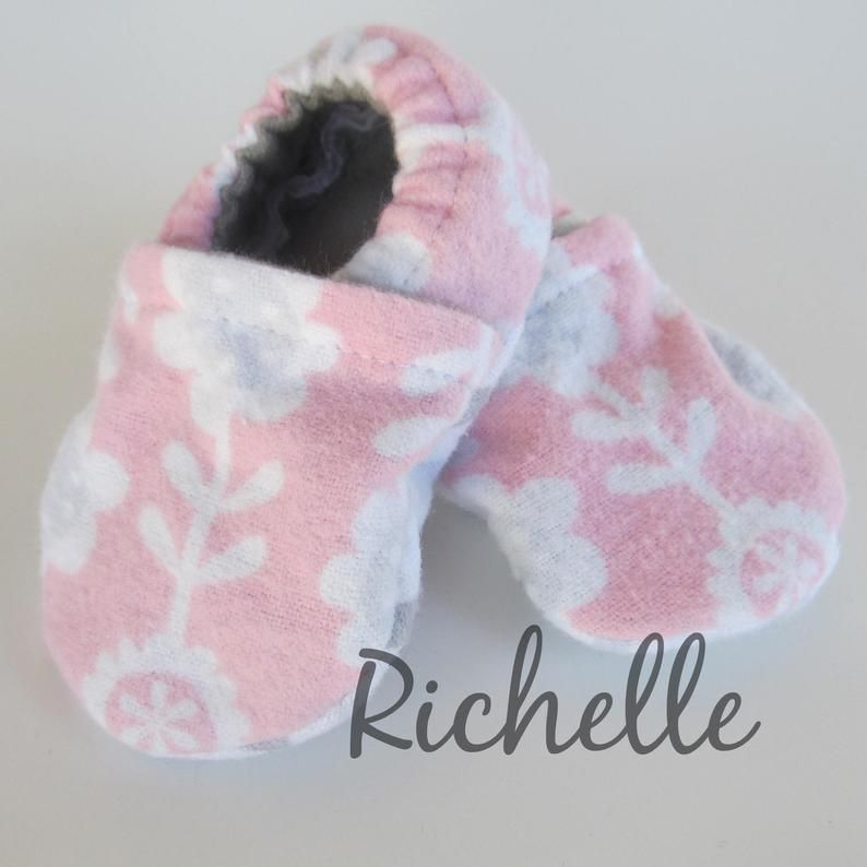 8d584caefd622 Pink Baby Girl Booties, Flower Soft Sole Infant Crib Shoes, Gray ...