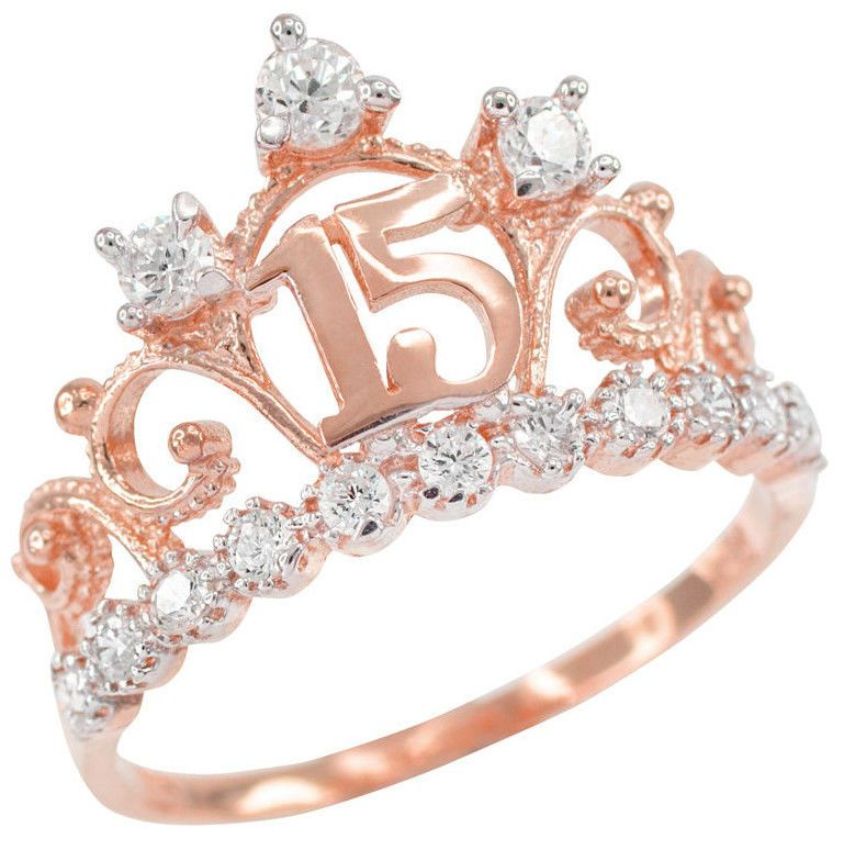 Rings 98493 14k Rose Gold Quinceaa Era 15 Aa Os Conora Cz Crown Ring Buy It Now Only 169 99 On Ebay Joias De Fada Joalheria Fina Aneis De Princesa