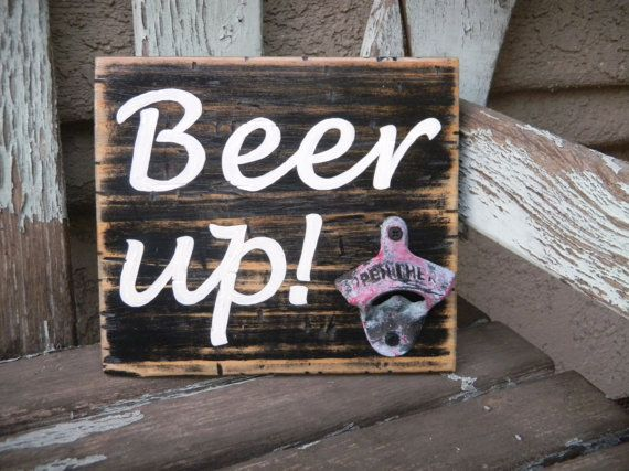 Rustic pallet wood sign beer lover man cave - Beer up!