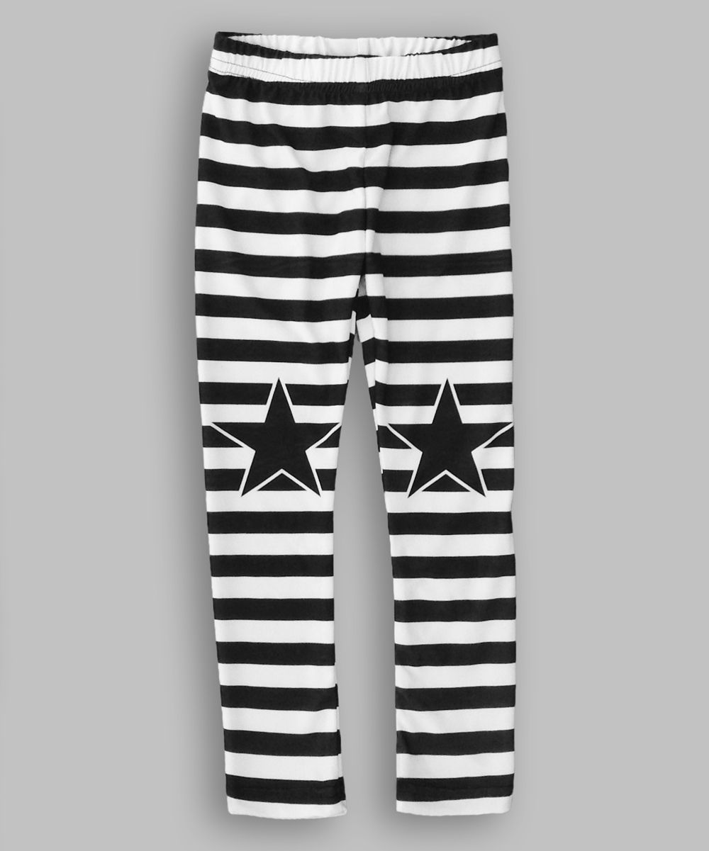 91a6d5e1e9188 White & Black Stripe & Star Leggings - Infant, Toddler & Girls ...