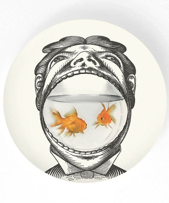 Man and his goldfish II - 10 inch Melamine Plate