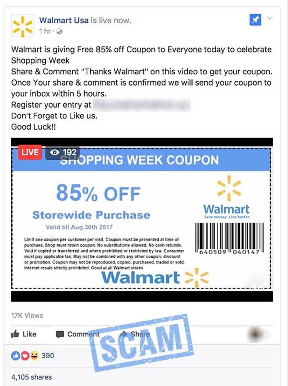 Walmart 85% Off Scam Post | Hoax-Slayer | Facebook scams, Walmart