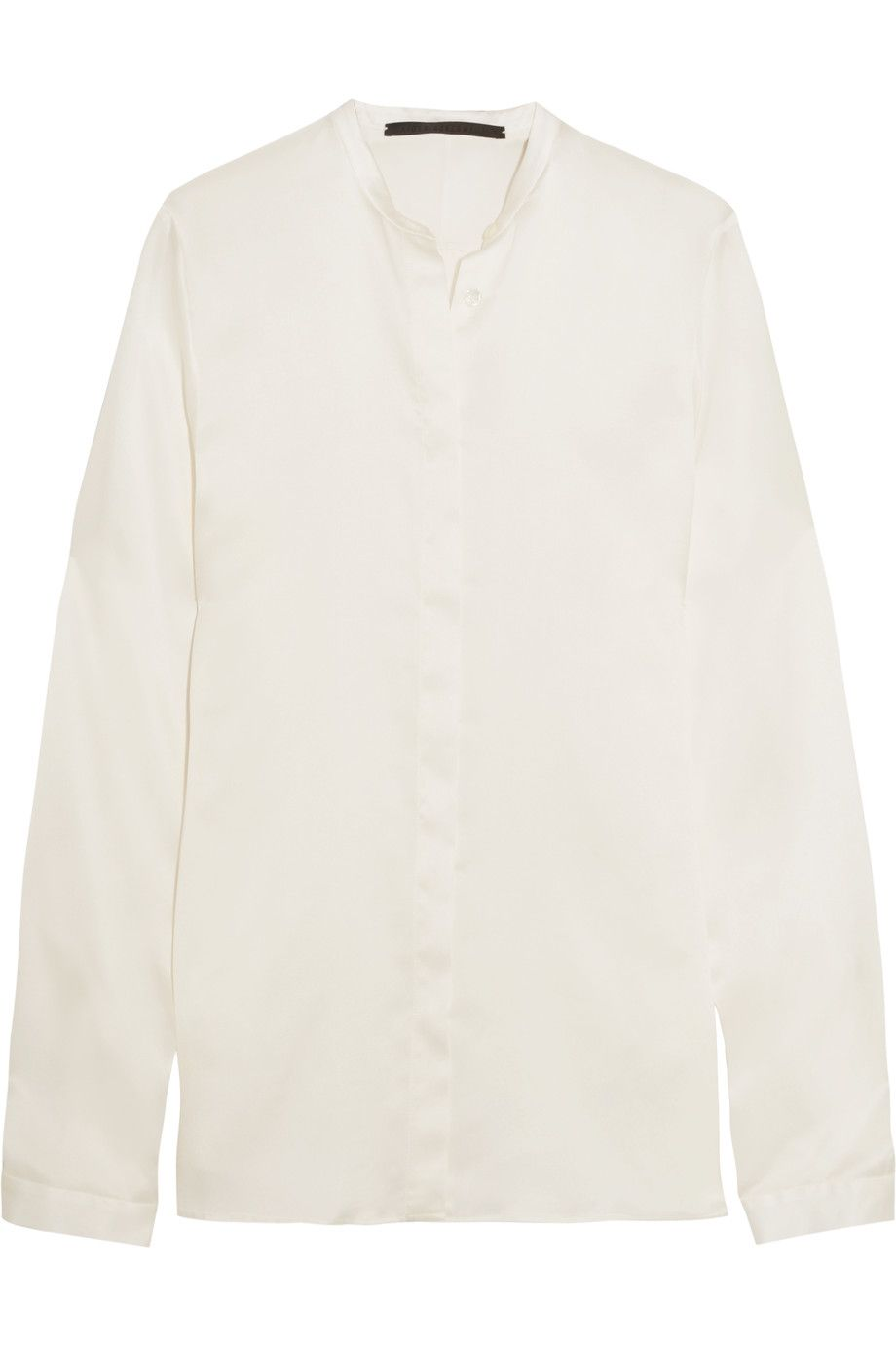 Haider Ackermann Woman Satin-trimmed Color-block Cotton Shirt Ivory Size 38 Haider Ackermann Inexpensive LzIswjhYse