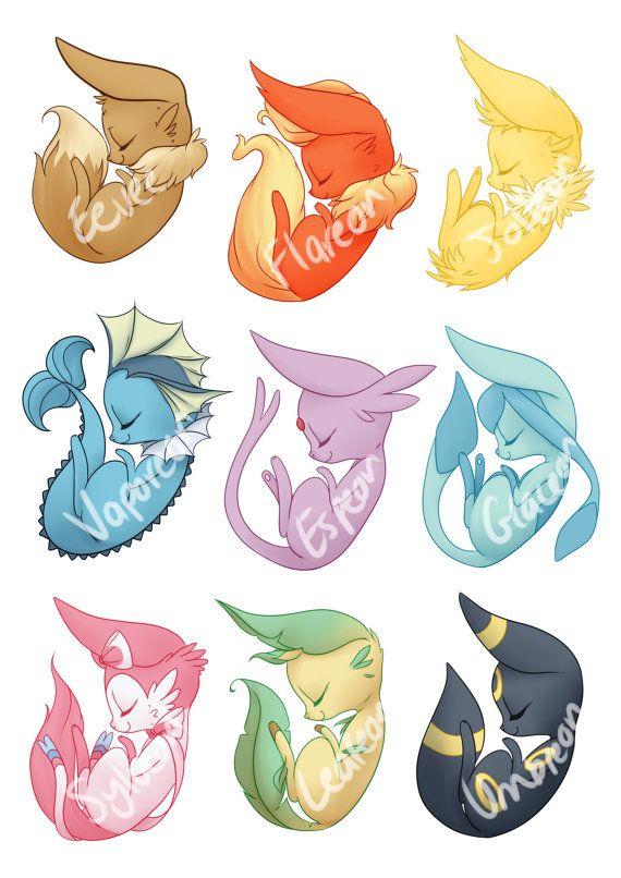 Pokemon Stickers Eevee Evolutions 9 Sticker Set By Grandifloru