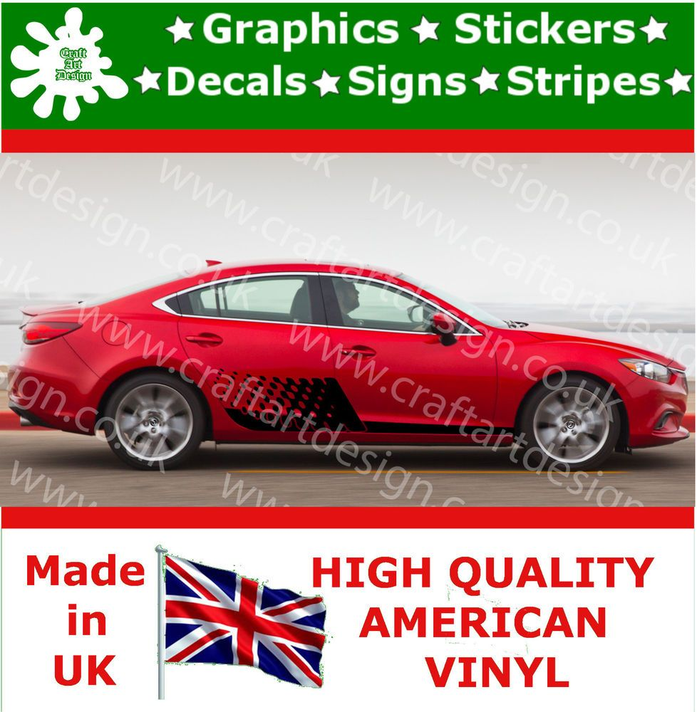 Mazda 6 tribal large side racing stripes car sticker vinyl race car decal jdm 28