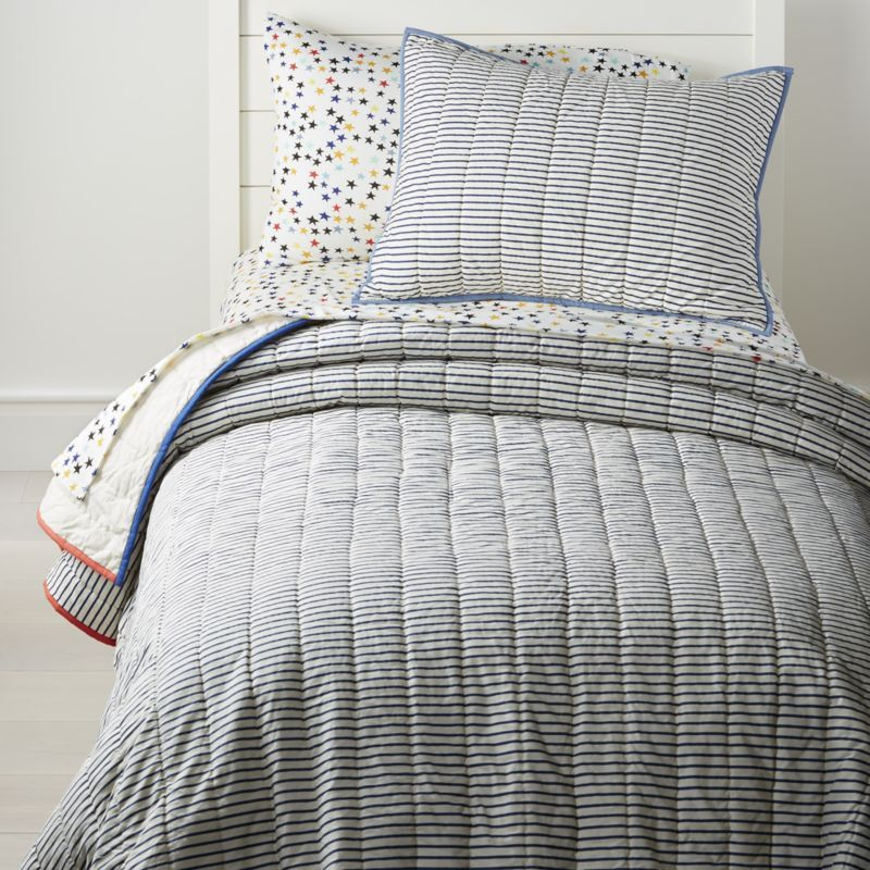 Shop Ticking Stripe Quilt Designed In An Understated Style That Ll Harmonize With Just About Any Kind Ticking Stripe Bedding Striped Bedding Striped Bedroom
