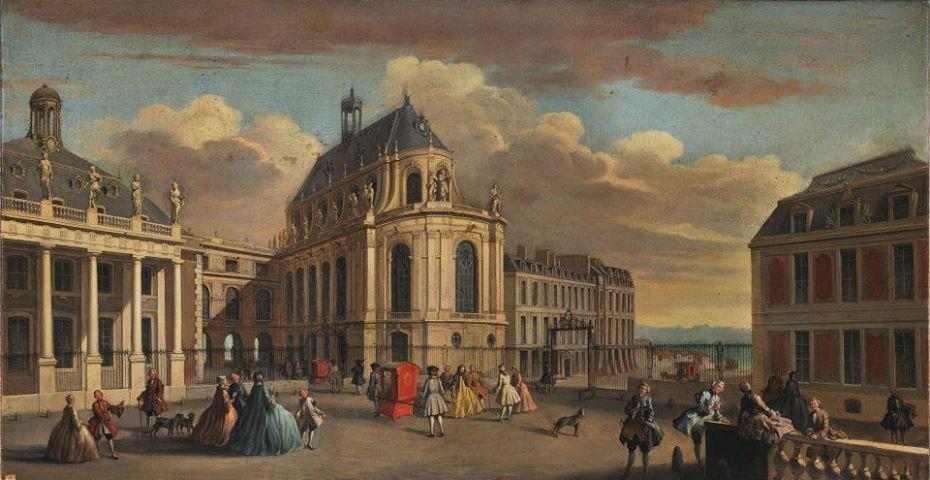 Le château de Versailles, cour de la Chapelle au début du XVIIIe siècle, par Jacques Rigaud.