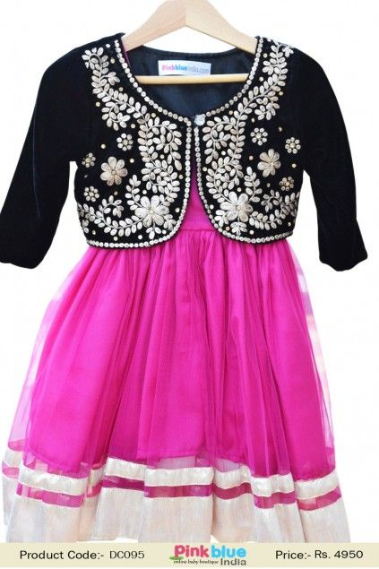 a1576864c9ca Designer Black Velvet Pattern Jacket with Pink Frock for Girls ...