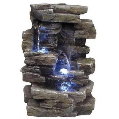 Water Fountain Rock Waterfall Indoor Outdoor Tabletop Relaxing Desk Office  New