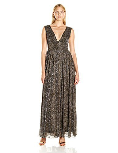 a5c2b84cbd Aidan by Aidan Mattox Womens V Neck Long Crinkle Lurex Gown with Crushed  Waist Detail BlackBronze 6     Be sure to check out this awesome product.