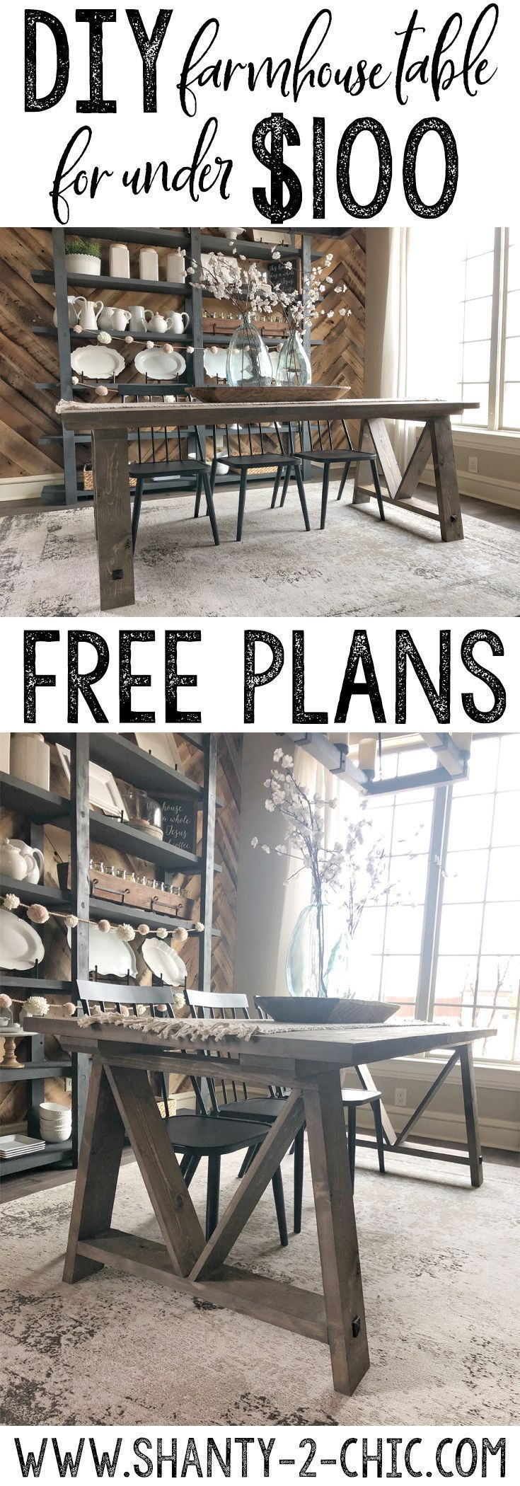 DIY Fancy V Dining Table for under $100 and a Tool Giveaway