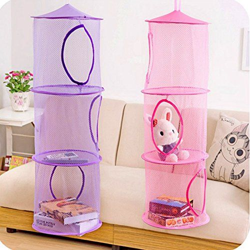 Genial Home Cube® 2pcs Set New Hanging Mesh Storage Basket Toys Organizer 3  Compartments Home