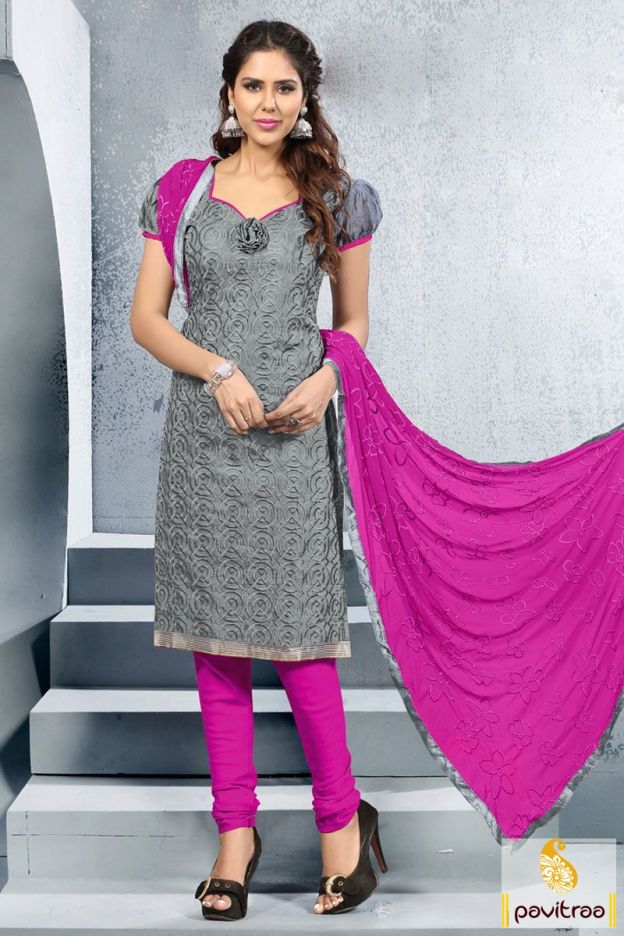 Purchase this beautiful grey and pink color embroidery salwar suit ...