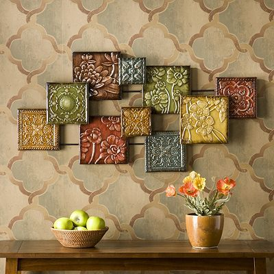 Floral Square Metal Wall Decor With Images Metal Tree Wall Art