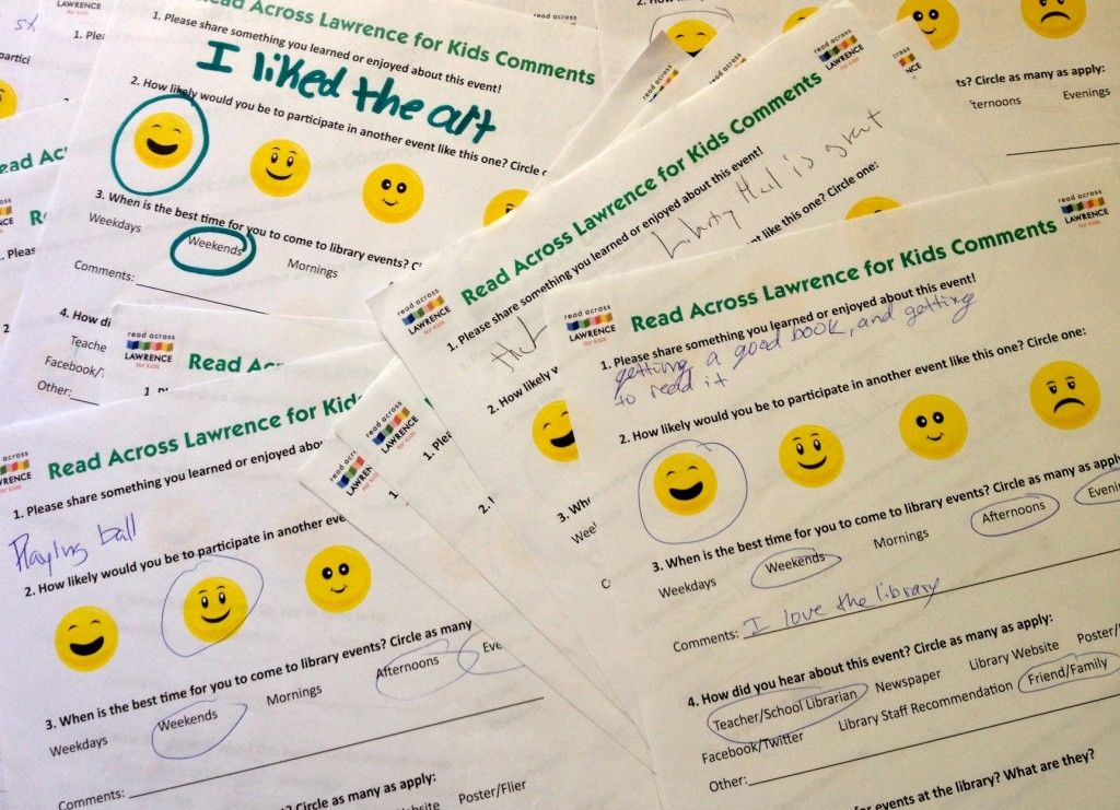 Feedback Forms For Kids Program Evaluation  Library Program