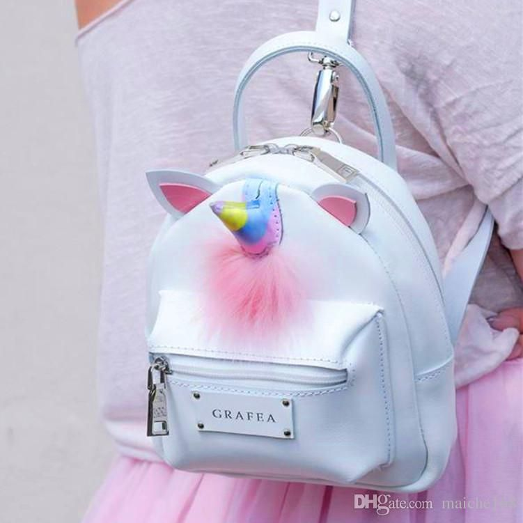 9df9eed18c3 New candy colorful unicorn mini shoulder bag fluffy backpack girl ...