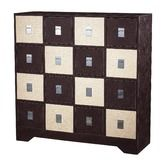 """Wayfair - Multi Chest in Chocolate and Cream Faux Croc - $1298 - SKU# SIF1923 Part# 120-005 - 16 drawers - MDF and leather choc/cream faux croc - 44""""Hx 43""""Wx15""""D"""