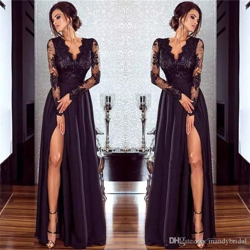 2018 Hot Sexy Black Lace Evening Dresses with Long Sleeves V Neck ...