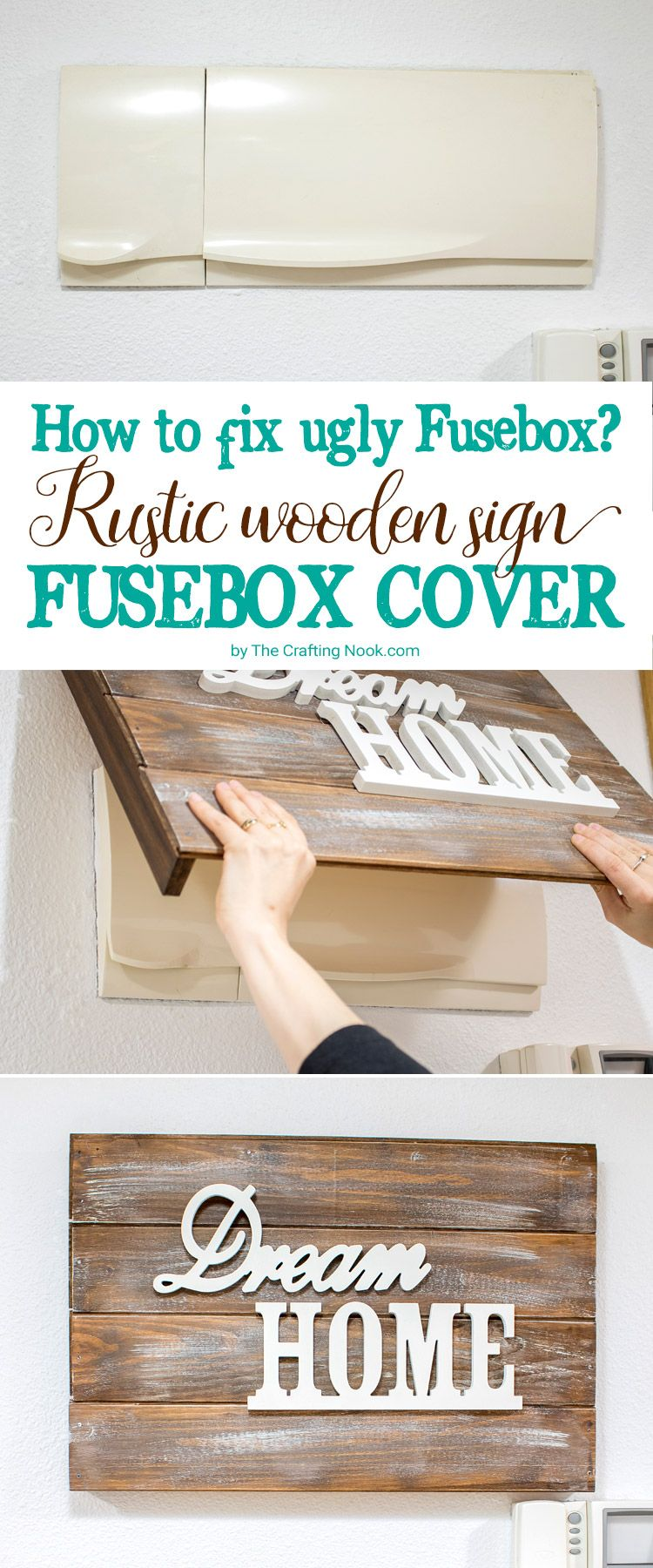 This Rustic Wooden Sign Fusebox Cover is pretty, is easy to make and will  fix the visible breaker box problem forever!!!
