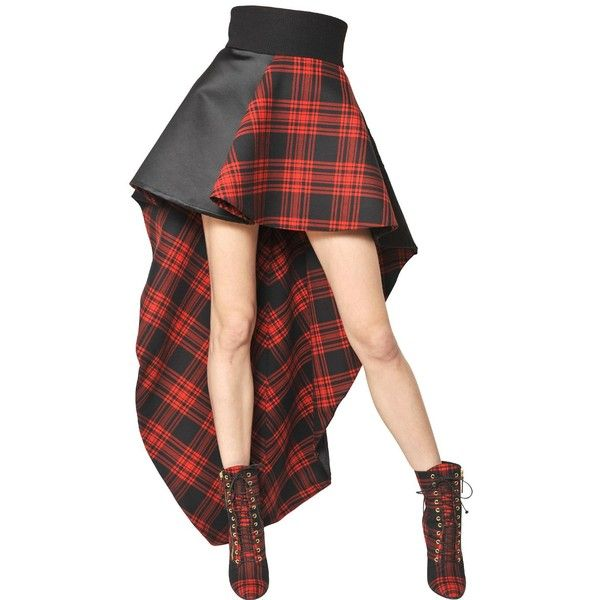 FAUSTO PUGLISI Wool Tartan & Silk Duchess Satin Skirt ($1,603) ❤ liked on Polyvore featuring skirts, dolls, doll parts, legs, bottoms, wool skirt, wool plaid skirt, red silk skirt, high waisted plaid skirt and red plaid skirt