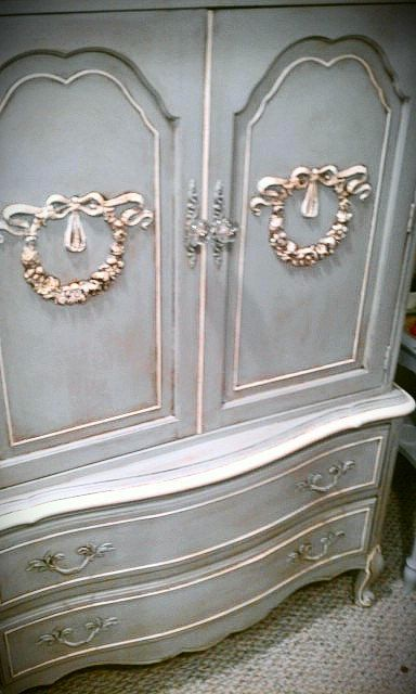 Fabulous French Armoire For Cottage Shabby Chic Or Decor ASP Paris Grey And Old White Details