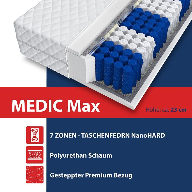 Matratze 160x200 Taschenfederkern 7 Zonen H3 160cm X 200cm Medic Max Bett 23 Cm Kaufen Bei Hood De Matratze Matratze 140x200 Wolle Kaufen