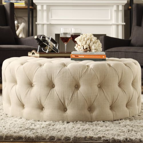 Cocktail Ottoman Round Tufted Fabric Extra Large Button Over Sized ...