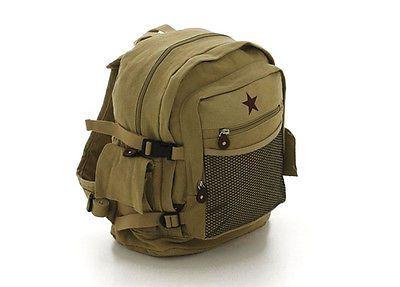 9e559e5c3 ROTHCO VINTAGE CANVAS BACKPACK BOOK BAG II / STAR - KHAKI | mario ...