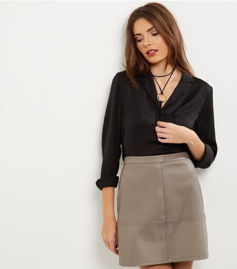 Mink Leather-Look Mini Skirt | New Look | newlook wants ...
