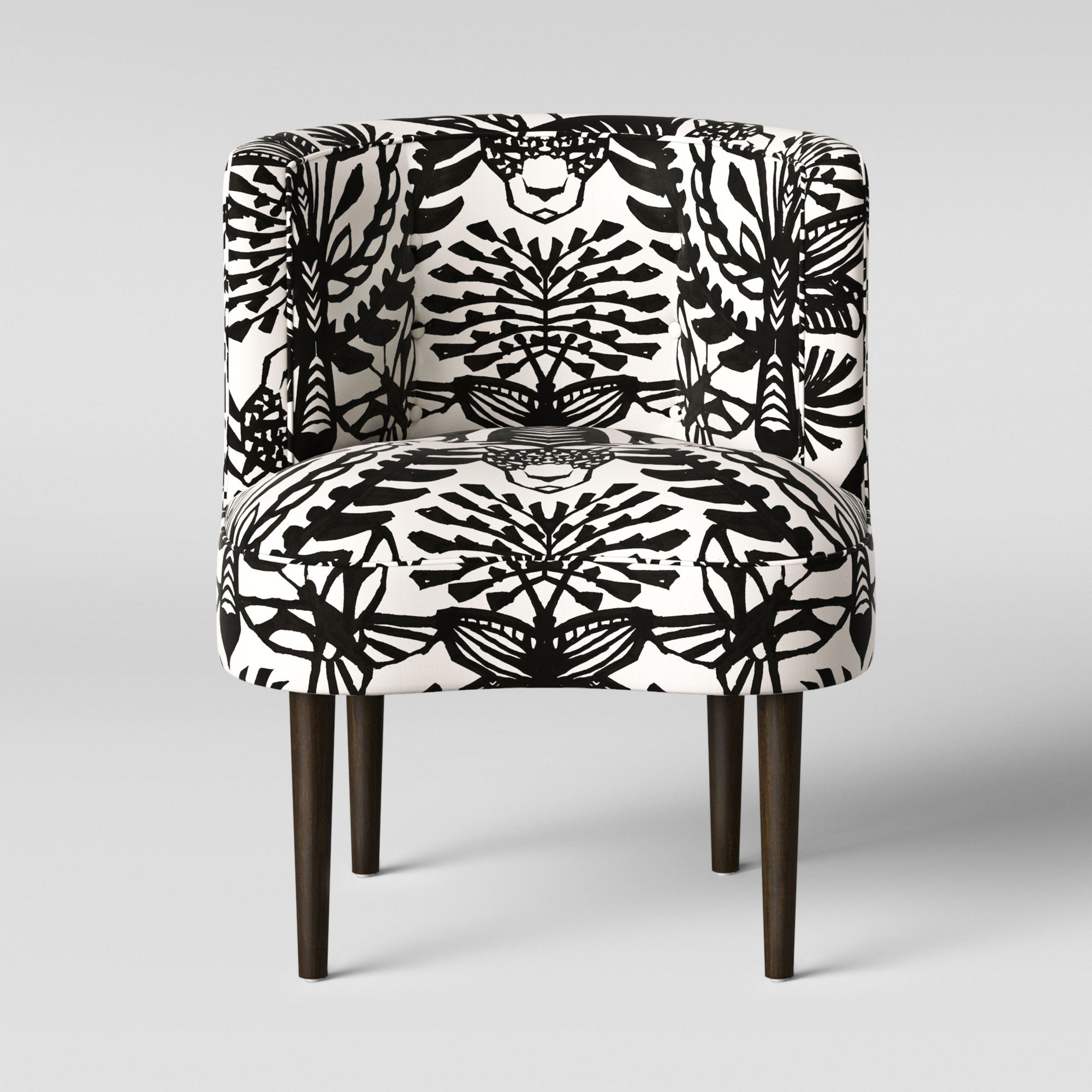 Best Clary Curved Back Accent Chair Black White Animal Icon 400 x 300