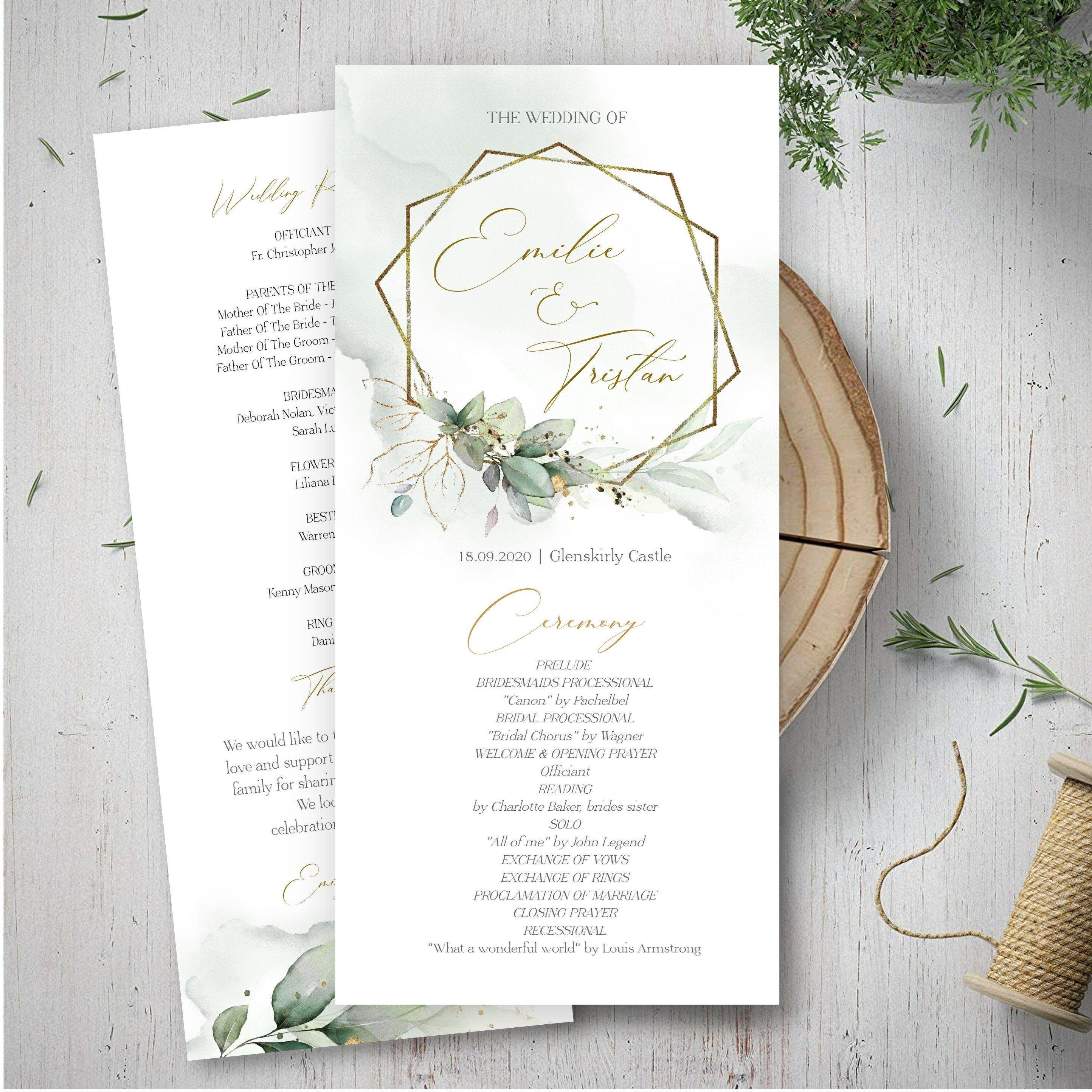 Greenery Wedding Program Template Printable Order Of Service Etsy Wedding Programs Template Wedding Programs Greenery Wedding