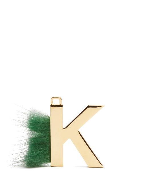 abclick letter k mink charm for handbag multi gold fendi
