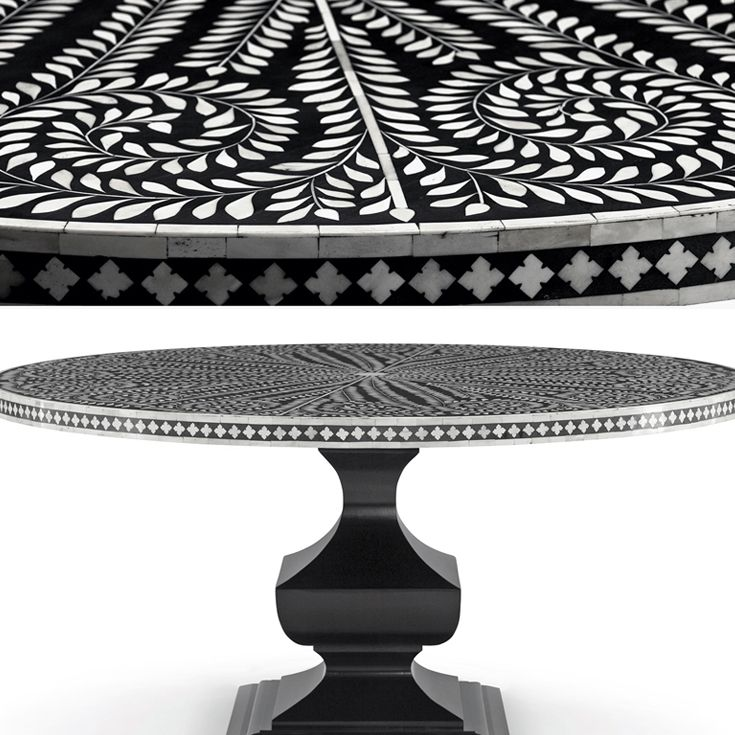 Bernhardt Interiors Barnsley Table Black And White Bone Inlay